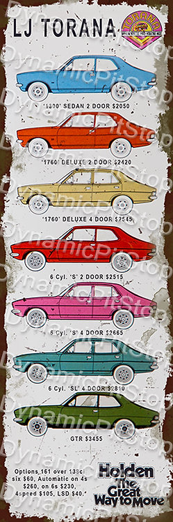 20x60cm Holden LJ Torana Decal or Tin Sign