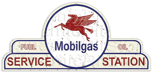 65x30cm Mobilgas Service Station Shield Tin Sign