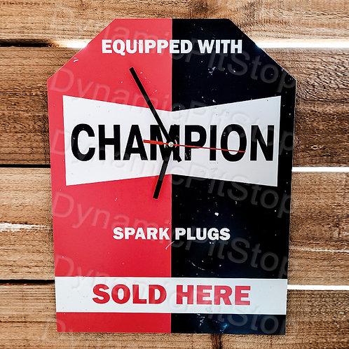 30cm x 40cm Champion Spark Plugs Rustic Clock
