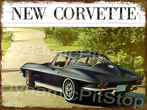 40x30cm Corvette 1963 Rustic Decal or Tin Sign