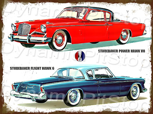 40x30cm Studebaker V8 and Rank 6 Rustic Decal or Tin Sign