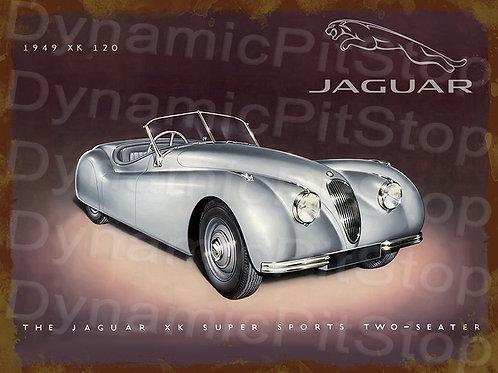 40x30cm Jaguar XK120 Rustic Decal or Tin Sign