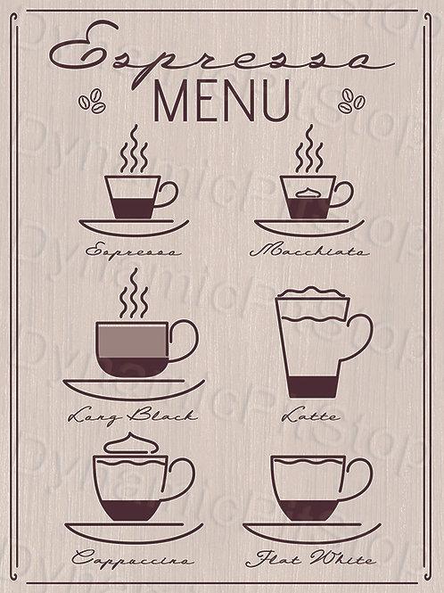 30x40cm Espresso Coffee Menu Decal or Tin Sign