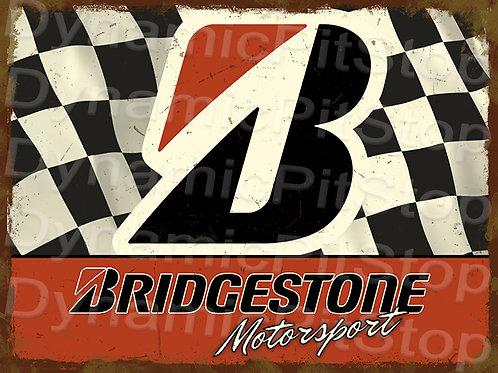 40x30cm Bridgestone Motorsport Rustic Decal or Tin Sign
