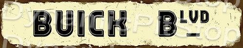 60x12cm Buick Blvd Rustic Tin Street Sign
