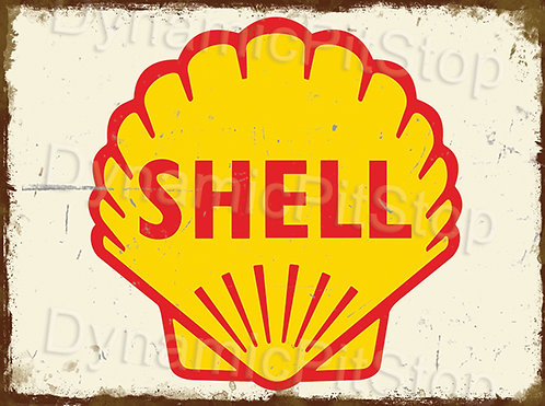 40x30cm Shell Logo Rustic Decal or Tin Sign