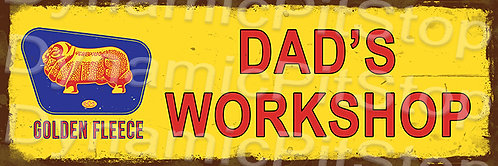 60x20cm Golden Fleece Dads Workshop Rustic Decal or Tin Sign