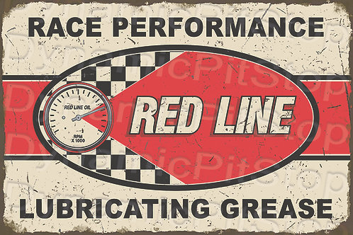 60x40cm Red Line Grease Rustic Decal or Tin Sign