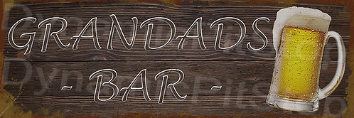 60x20cm Grandads Bar Rustic Decal or Tin Sign