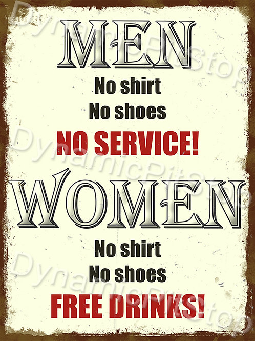 30x40cm Woman Free Drinks Rustic Decal or Tin Sign