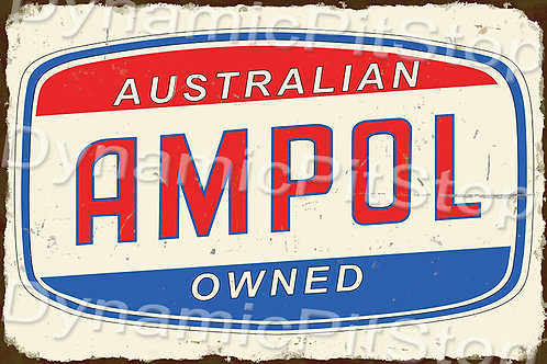 60x40cm Ampol Rustic Decal or Tin Sign