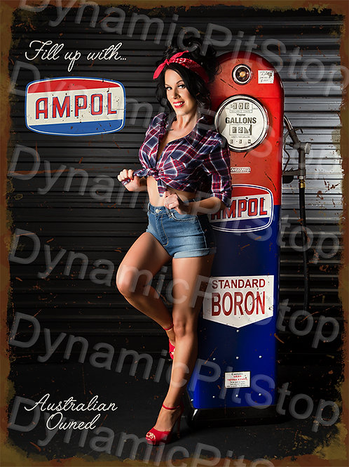 30x40cm Fill Up With Ampol Rustic Decal or Tin Sign