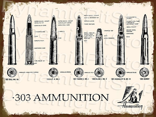 40x30cm Rifle .303 Ammunition Rustic Decal or Tin Sign