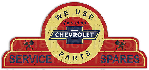 65x30cm Chevrolet Service Spares Shield Tin Sign