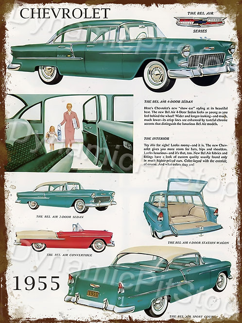 30x40cm Chevrolet 1955 Rustic Decal or Tin Sign