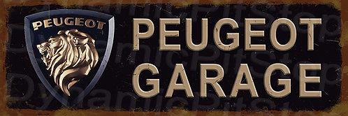 60x20cm Peugeot Garage Rustic Decal or Tin Sign