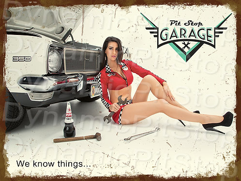 40x30cm Pit Stop Garage Rustic Decal or Tin Sign
