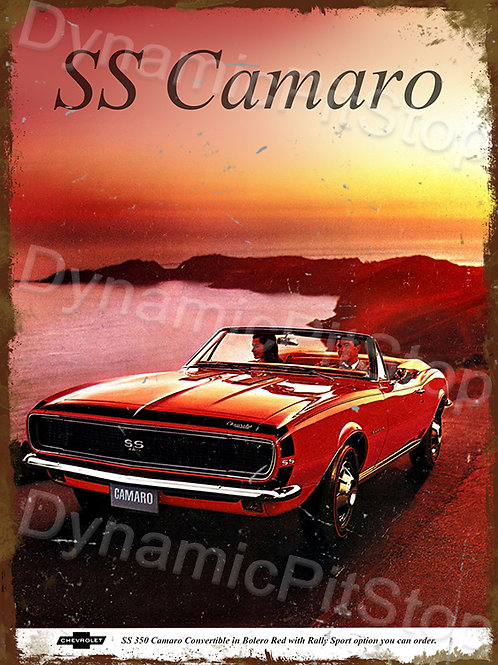 30x40cm Chevrolet 1967 SS Camaro Rustic Decal or Tin Sign