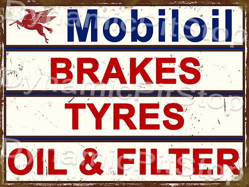 40x30cm Mobiloil Services Rustic Decal or Tin Sign