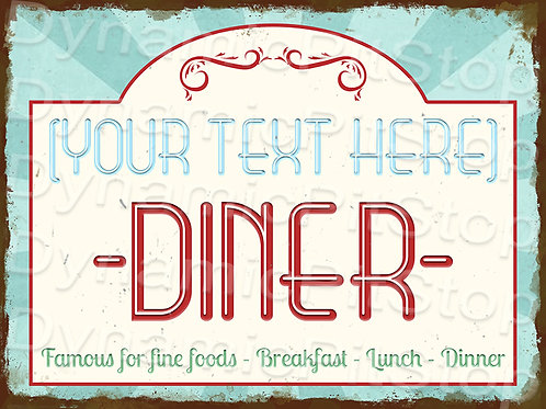40x30cm Diner Custom / Personalised Rustic Decal or Tin Sign