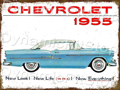 40x30cm Chevrolet 1955 Rustic Decal or Tin Sign