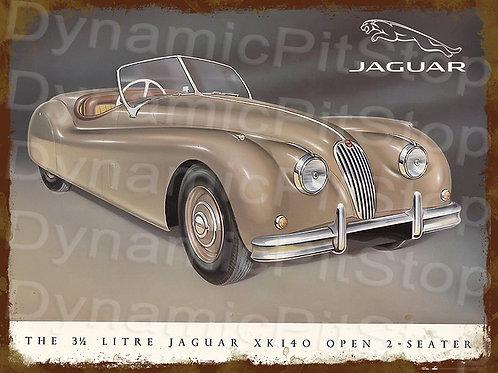 40x30cm Jaguar XK140 Rustic Decal or Tin Sign