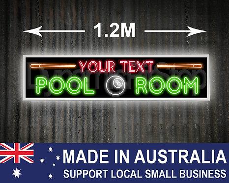 Large Illuminated Pool Room Neon Style Custom Sign