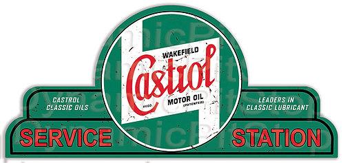 65x30cm Castrol Service Station Shield Tin Sign
