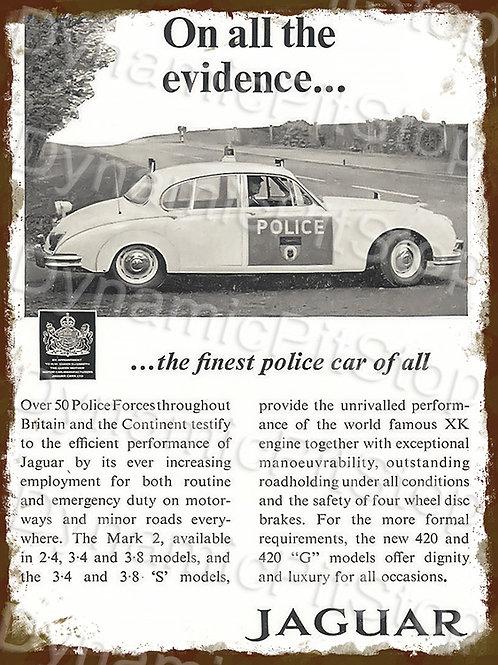30x40cm Jaguar Police Rustic Decal or Tin Sign