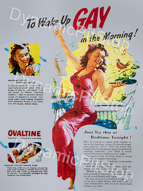 30x40cm Ovaltine Wake Up Gay Decal or Tin Sign