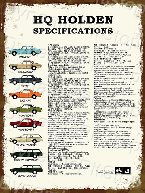 30x40cm Holden HQ Specs Rustic Decal or Tin Sign