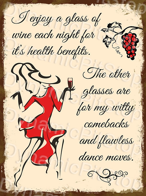 30x40cm Wine Dance Rustic Decal or Tin Sign