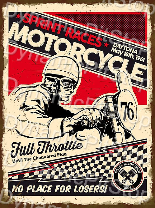 30x40cm Sprint Racers Motorcycle Rustic Decal or Tin Sign