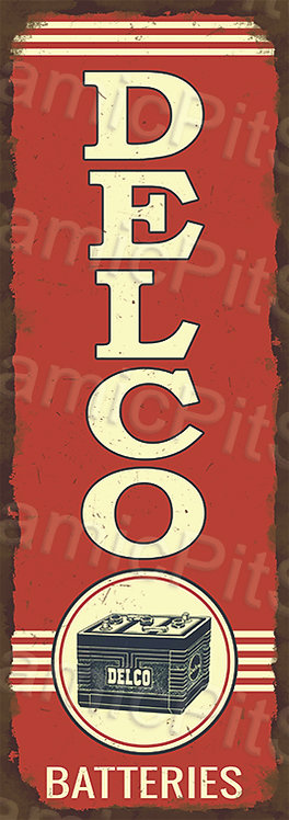 Large 99x35cm Delco Batteries Rustic Decal or Sign