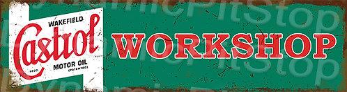 30x8cm Castrol Workshop Rustic Tin Door Sign or Decal