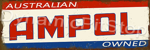 60x20cm Ampol Logo Rustic Decal or Tin Sign