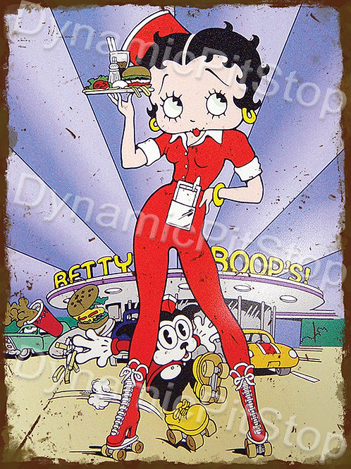 30x40cm Betty Boop Waitress Rustic Decal or Tin Sign