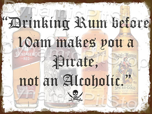 40x30cm Rum Pirate Rustic Decal or Tin Sign
