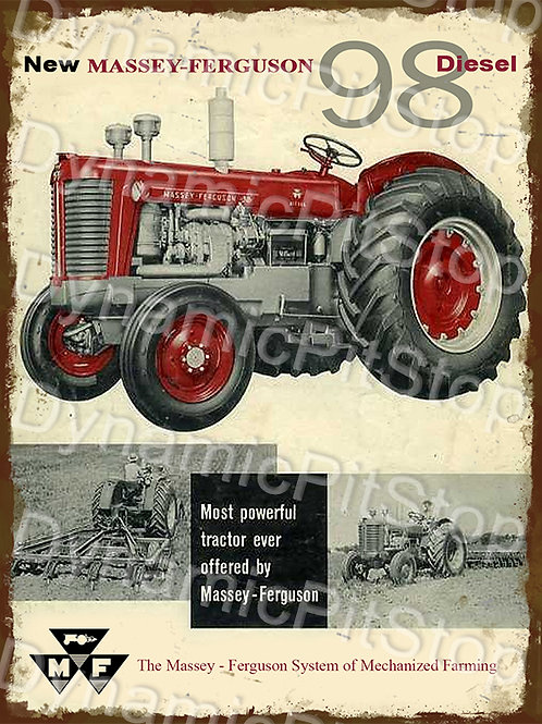 30x40cm Massey Ferguson 98 Diesel Tractor Rustic Decal or Tin Sign