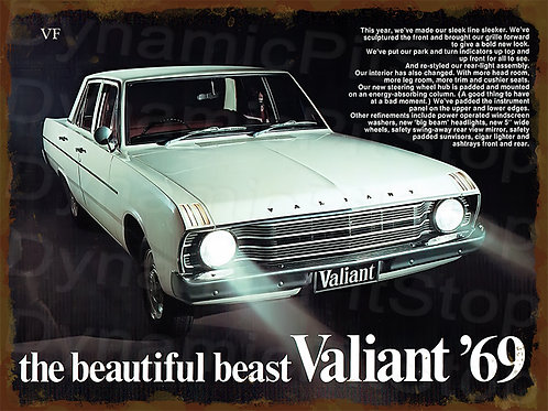 40x30cm Valiant 1969 VF Rustic Decal or Tin Sign