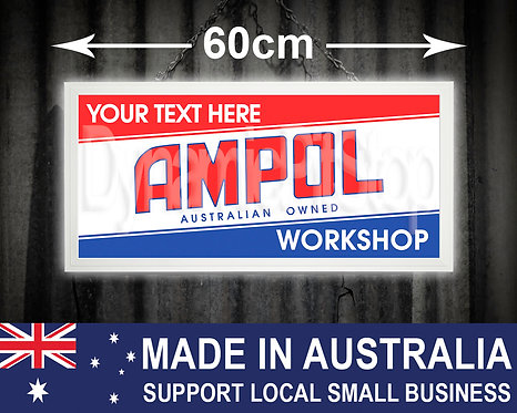 Illuminated Ampol Custom Workshop Sign