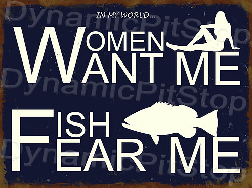 40x30cm Fish Fear Me Rustic Decal or Tin Sign
