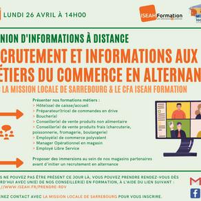 RÉUNION D'INFORMATIONS : RECRUTEMENT ET INFORMATIONS AUX MÉTIERS DU COMMERCE EN ALTERNANCE