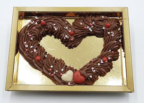 Opgespoten chocolade hart