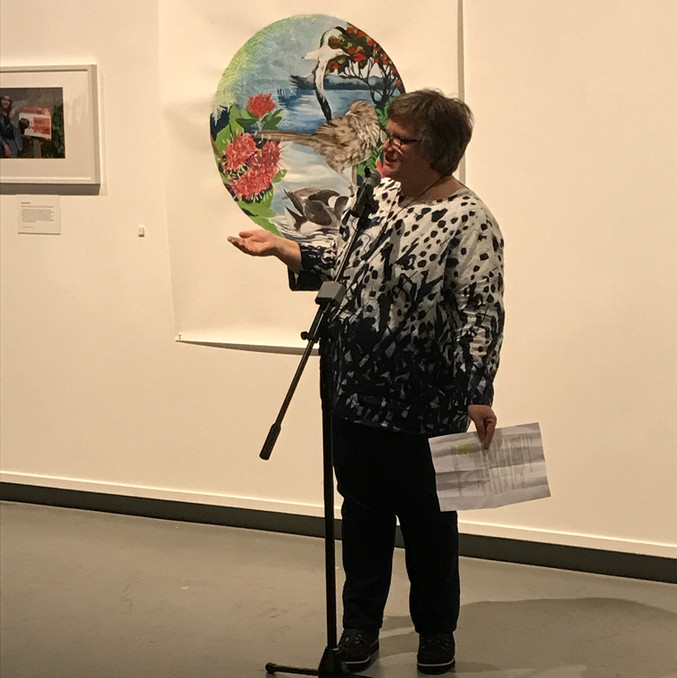 Margaret giving a speech at the opening of her exhibition at the NZ Portrait Gallery in 2019