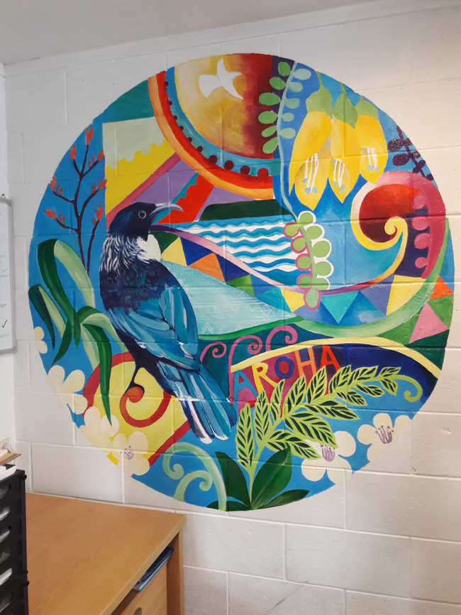 Mural in the office of a gym in Porirua