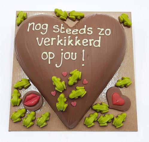 """Chocolade hart """"Nog steeds verkikkerd op jou"""""""