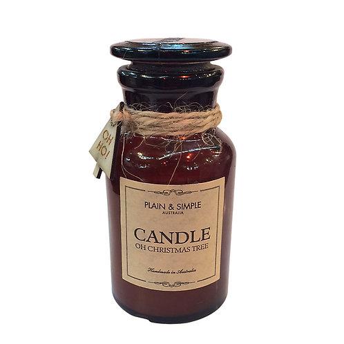 Christmas Candle 20hr - Oh Christmas Tree - Wood/Amber Glass