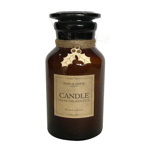 Christmas Candle 40hr - Under the Mistletoe - Wood/Amber