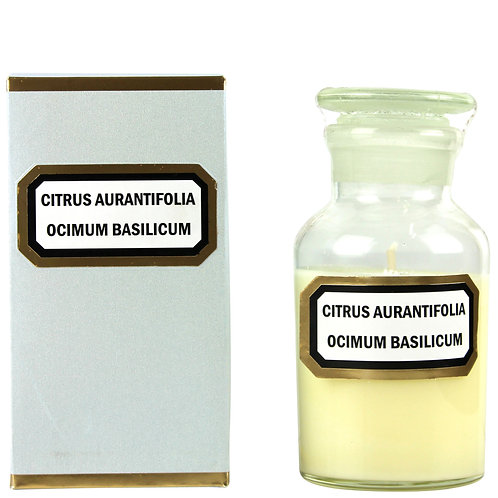Apothecary Candle Lime Basil Mandarin -Clear Large